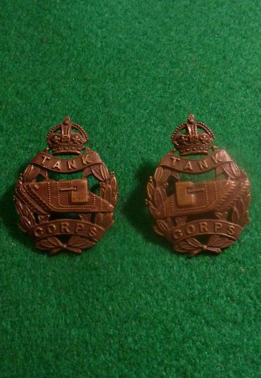 WW1 TANK CORPS OFFICERS BRONZE [PAIR] COLLAR BADGE