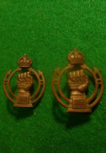 WW2 ROYAL ARMOURED CORPS OFFICERS BRONZE COLLAR BADGES