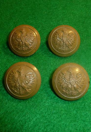 WW2 4 x POLISH POLAND ARMY PLASTIC LARGER 25 mm BUTTONS